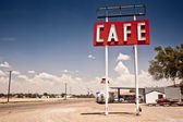 Café tecken längs historiska route 66 i texas. — Stockfoto