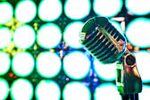 Retro microphone on stage — Stock Photo
