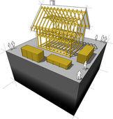 House framework diagram — Stock Vector