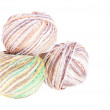 Three balls of colored cotton knitting yarn — Stock Photo