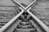 Crossing railroads — Stock Photo