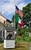 Italian and american flags — Foto de Stock