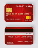 Red credit card Banking concept front and back view — Stock Vector