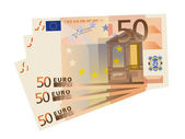 Vector drawing of a 3x 50 Euro bills (isolated) — Stock Vector