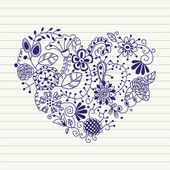 Floral heart. Heart made of flowers.Doodle Heart — Stock vektor