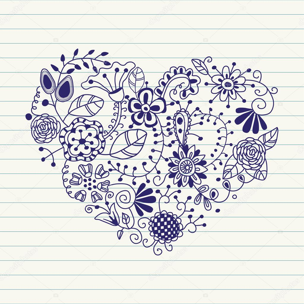 Floral heart. Heart made of flowers.Doodle Heart  — Stock Vector #8567547