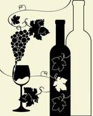 Bottle wine glass grapes — Stock Vector
