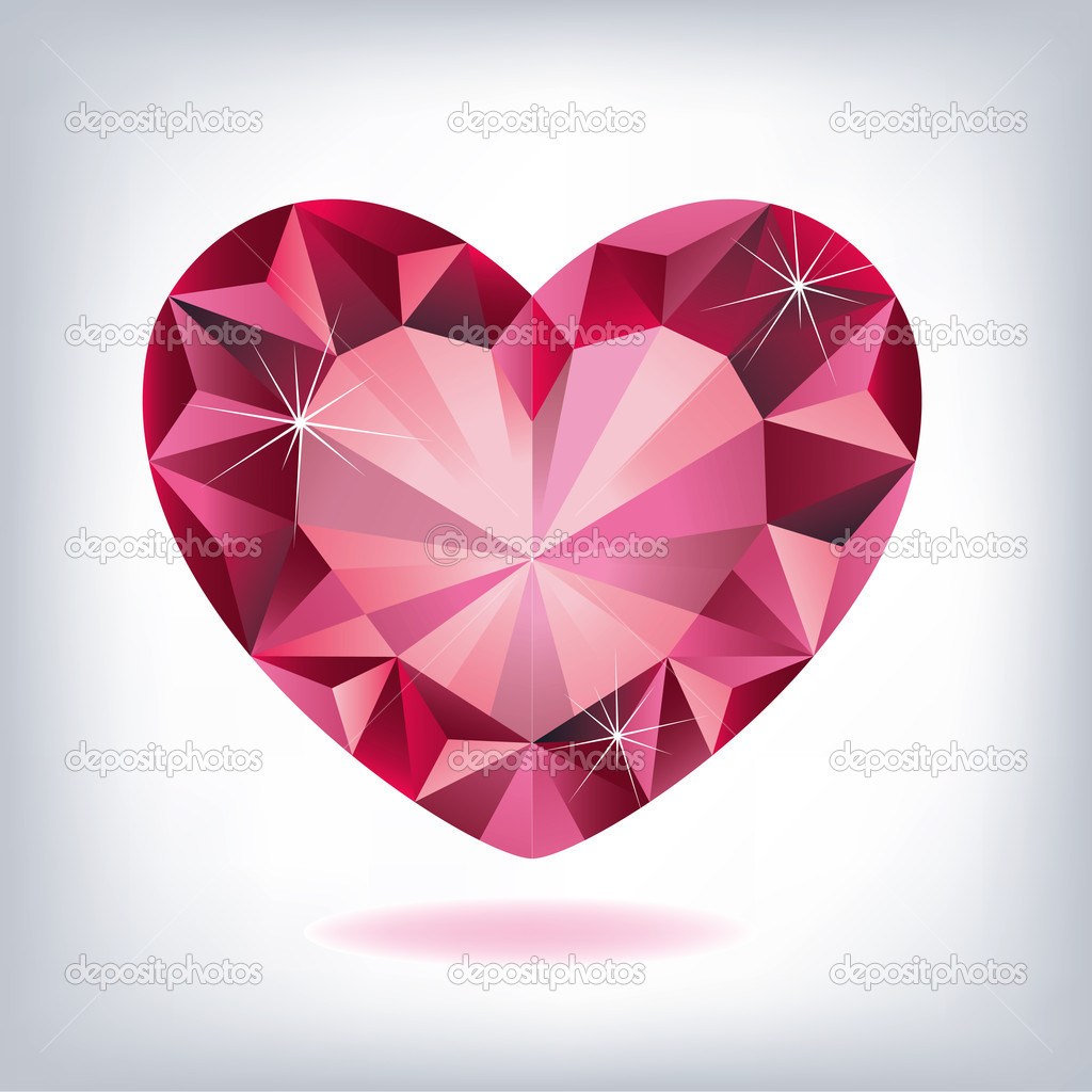 Ruby heart-shaped  — Stock Vector #9131116