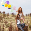 Two women with ballons — Stock Photo