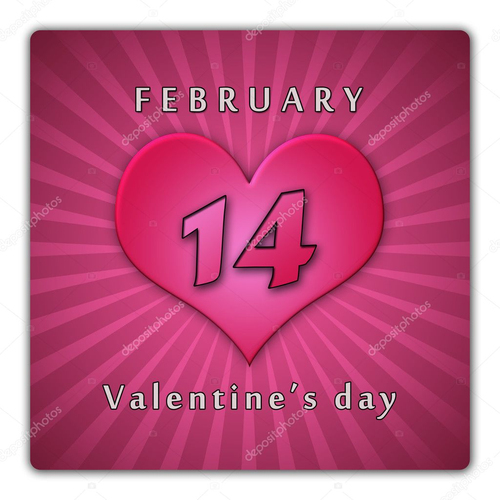 The calendar sheet for Valentine's day.  Stock Photo #8116627