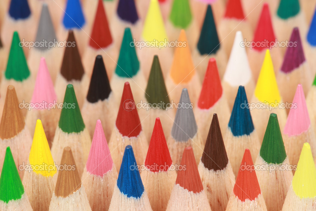 Colored crayons in a stack with focus on the second row. — Stock Photo #8624881