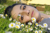 Girl relaxing in nature — Stock Photo