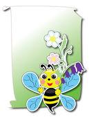 Bee with flowers, vector. — Stock Vector