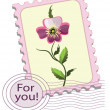 Postage stamp with a  pansy — Image vectorielle