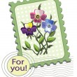Postage stamp with pansies — Stock Vector