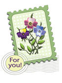 Postzegel met viooltjes — Stockvector