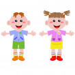 Funny little girl and boy — Stock Vector