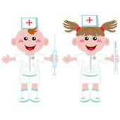 Doctor and nurse ,cartoon. — Stock Vector
