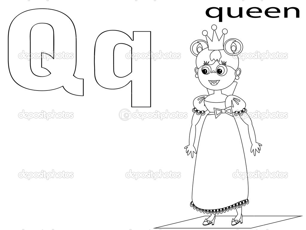 Q Is For Queen Coloring Page Coloring Alphabet for Kids