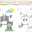 Coloring for children ,funny, cute goat. - Zdjęcie stockowe