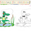 Coloring for children ,cute crocodile - Stock Photo