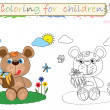 Coloring for children ,cute bear - Stock Photo
