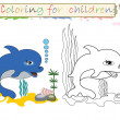 Coloring for children ,cute dolphin. - Stock Photo