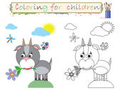 Coloring for children ,funny, cute goat. — Stock Photo