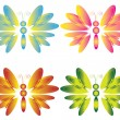 Four butterflies , vector. — Stock Vector