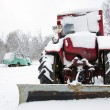 Stock Photo: Old russisoviet tractor covered snow in winter