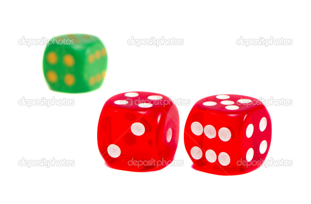Dice game play red and green isolated on white background. — Stock Photo #10137745