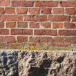 Background red brick wall stone house foundations - Stock Photo