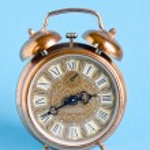 Retro vintage clock roman numbers blue background — Stock Photo
