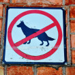 Постер, плакат: Sign prohibiting walk out dogs in park on red brick house wall