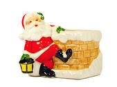 Ceramic toy Santa Claus. Christmas gift symbol. — Stock Photo