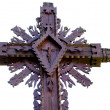 Stock Photo: Carved wooden cross with crucified Jesus isolated