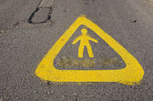 Warning sign near school attention children! — Foto Stock