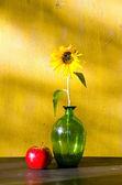 Ayçiçeği cam vazo ve Kırmızı elma durgun yaşam içinde — Stok fotoğraf