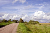 Rural gravel road and house in distance — Stock Photo