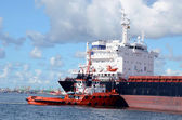 Industrial commercial cargo ships cranes sea port — Stock Photo