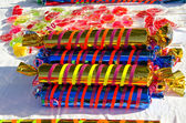 Closeup colorful candy sold street fair trade — Stock Photo