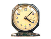 Ancient rusty clock vintage retro object isolated — Stock Photo