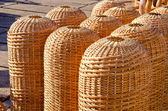 Wicker wooden handmade baskets sold in market fair — Stock Photo