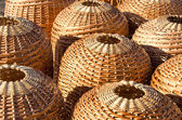 Wicker handmade wooden basket sell street market — Stock Photo