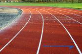 Athletics sport stadium running track lines marks — Stock Photo