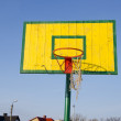 Stock Photo: Basketball basket tattered bow mesh background sky