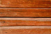Background of shaved log wall rusty nail heads — Stock Photo