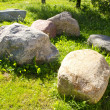 Large stones garden verdant meadow rural scenery - Stock Photo