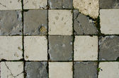 Background of white brick tiled old pavement moss — Stock Photo