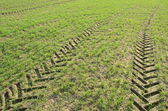 Background fields spring tractor wheel marks — Stock Photo